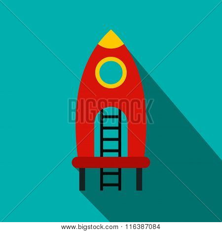 Red rocket with stairs on a playground flat icon