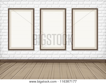 Room with White brick wall, wooden floor and blank frames. Vector eps-10.