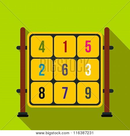 Cubes with numbers on a playground flat icon