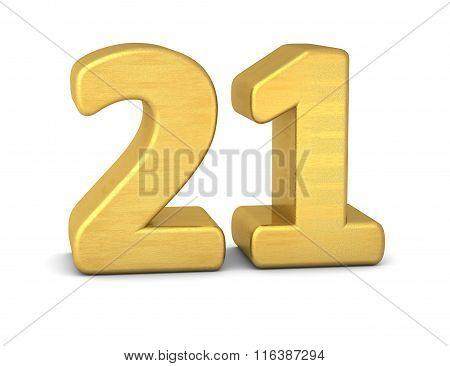 3D Number 21 Gold