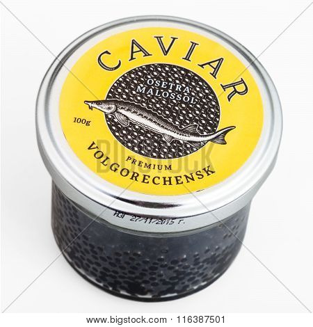 Glass Jar With Russian Black Sturgeon Caviar