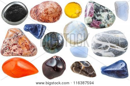 Many Tumbled Ornamental Gem Stones Isolated