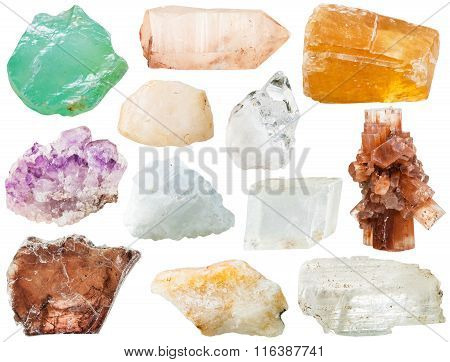 Various Transparent Mineral Rocks And Stones