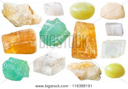 Various Calcite Gem Stones Isolated On White