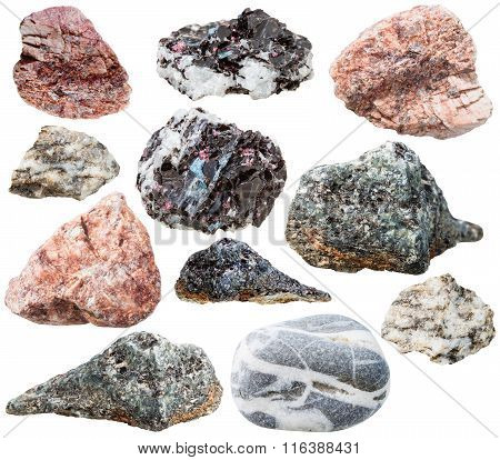 Various Gneiss Mineral Stones And Rocks Isolated