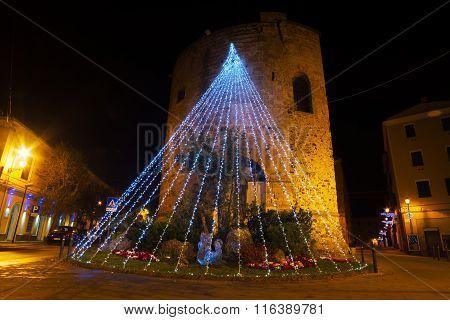 Christmas decoration in Porta Terra tower Alghero