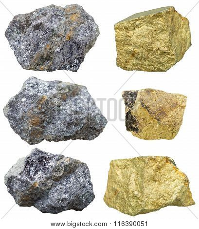 Chalcopyrite Stones And Crystals On Galena Rocks