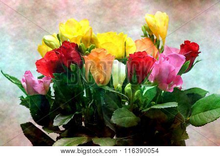 Bouquet Of Colorful Roses On A Colorful Background