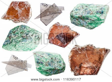 Various Mica Mineral Rock Stones Isolated On White