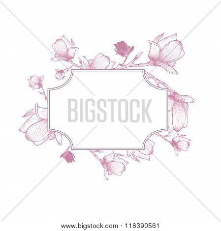 Vintage Magnolia Blossom Flower Border