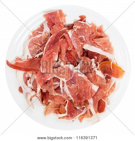Top View Sliced Prosciutto Crudo On Plate Isolated
