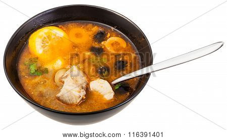 Russian Solyanka Fish Soup In Bowl With Spoon