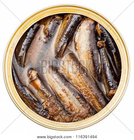 Above View Of Canned Smoked Sprats Fish In Tin