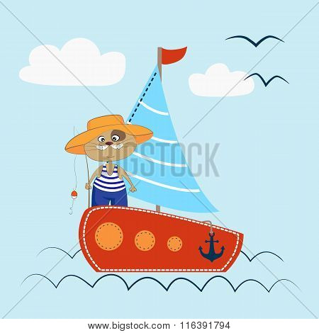 Sailing Cat On The Sea Vector Illustration