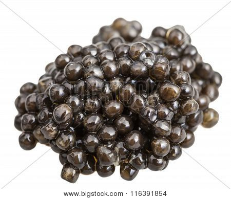 Pile Of Black Sturgeon Caviar Isolated On White