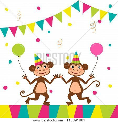 Two Cute Monkeys At A Party