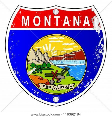 Montana Flag Icons As Interstate Sign