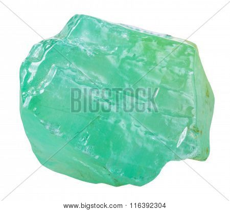 Crystal Of Green Calcite Mineral Stone Isolated
