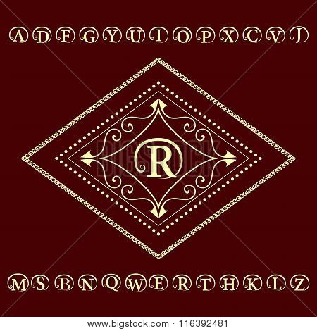 Monogram Design Elements, English Letters Emblem. Calligraphic Elegant Line Art Logo Design.  Busine