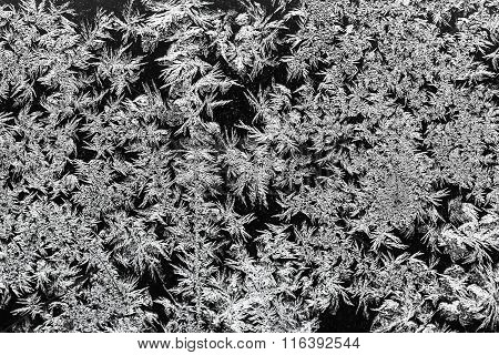 Natural Frost Texture On Window Glass In Winter