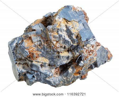 Crystalline Galena Mineral Stone Isolated