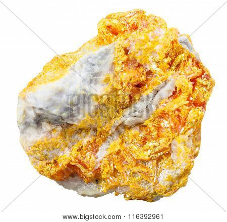 Orpiment Mineral Stone On Dolomite Isolated