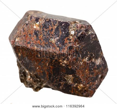 Tourmaline Dravite Mineral Stone Isolated On White