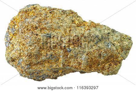 Pyrite Mineral Stone Isolated On White