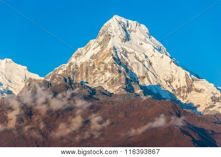 Annapurna South In Himalaya At Sunset, Nepal