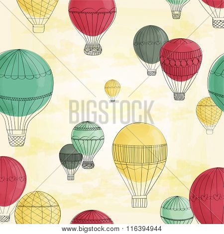Hot Air Balloons vintage background