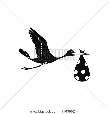Flying stork with a bundle icon