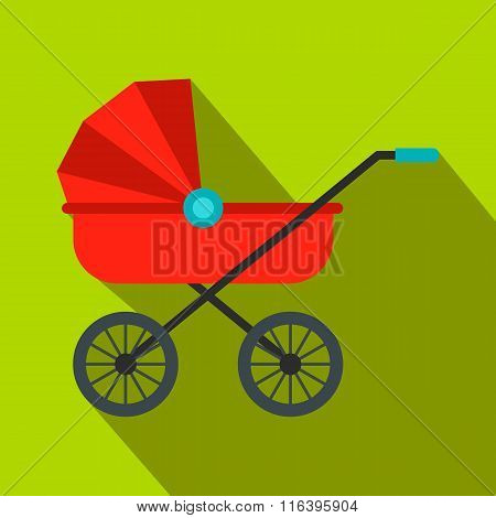 Red baby carriage flat icon