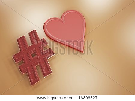Dimensional Inscription Of Hashtag And Heart