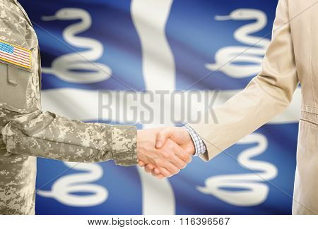 Usa Military Man In Uniform And Civil Man In Suit Shaking Hands With National Flag On Background - M