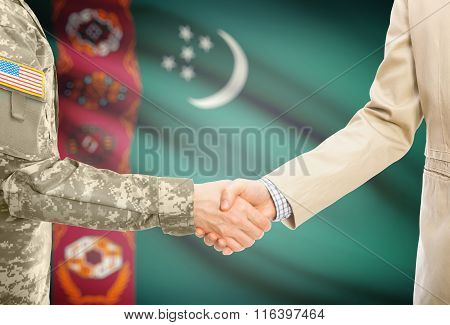 Usa Military Man In Uniform And Civil Man In Suit Shaking Hands With National Flag On Background - T