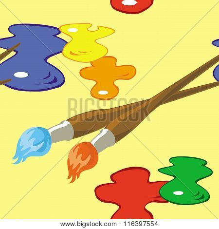 Paintbrushes And Paint Spots Seamless Pattern