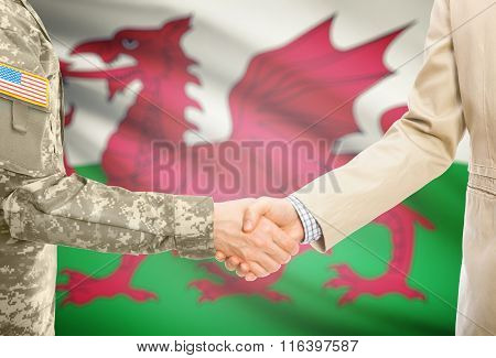 Usa Military Man In Uniform And Civil Man In Suit Shaking Hands With National Flag On Background - W