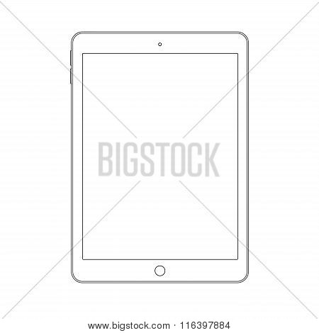 Outline drawing tablet. Elegant thin line style design.