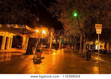 Piazza Porta Terra In Alghero On A Clear Night