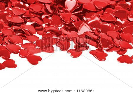 Red Hearts Confetti Isolated