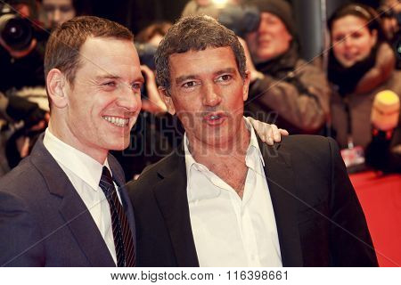 BERLIN, GERMANY - FEBRUARY 15: Michael Fassbender and Antonio Banderas attend the 'Haywire' Premiere during of the Berlin Festival at the Berlinale Palast on February 15, 2012 in Berlin, Germany.