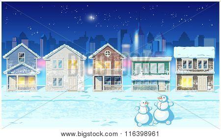 Winter Suburb At Night
