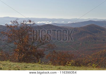 Clear Autumn View Of The Appalachian Mountains