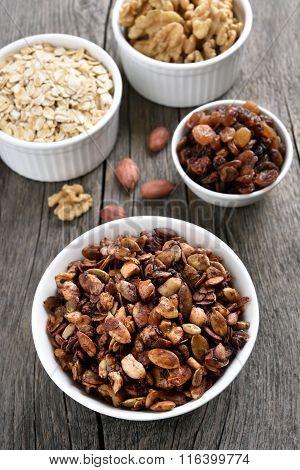Chocolate Muesli And Ingredients