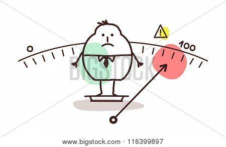 vector cartoon overweight man