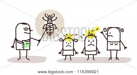 vector cartoon doctor with children and lices