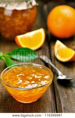 Orange Jam In Glass Bowl
