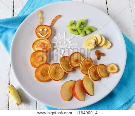 caterpillar of pancakes for breakfast