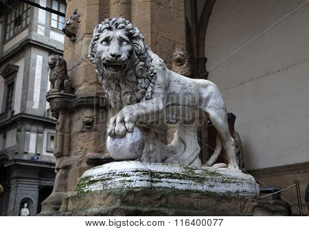 Medici Lion At Signoria Square In Florence, Italy