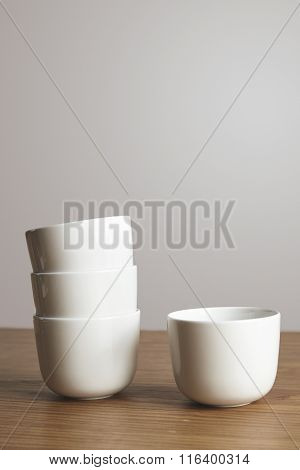 Side View Straight Shaped Ceramic Coffee Cups On Table